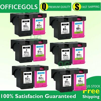 New Chip combo Black Color pk Ink Cartridge for HP 61XL 63XL 65XL 60XL 62XL 64XL