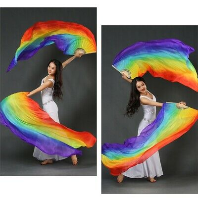2PCS Dance Fans Stage Performance Rainbow Belly Dance Veils Fans Left + Right
