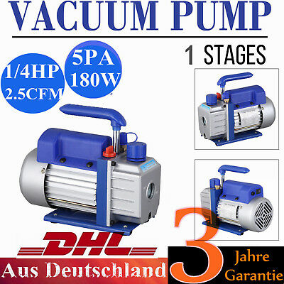 DE Single Stage Vacuum Pump 2.5CFM 1/4HP 5Pa Rotary Vane AC Black New Deep HVAC