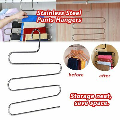 layer Pants Hangers Trousers S Type 5 Layer Holder Scarf Tie Towel Rack Multi #T