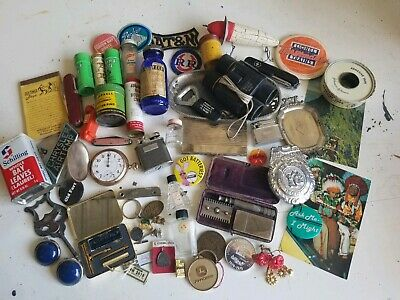 Vintage 50+ Item Junk Drawer Lot Jewelry Pocket watch Advertising Etc