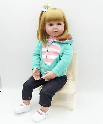 Toddler Reborn Baby Girl Real Look Dolls Golden Hair Silicone Kids in Outfit 24""