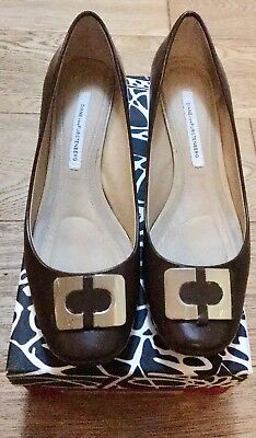 DVF Calf Leather Ladies Shoes Chocolate Brown Worn Once Uk 6 With Box/dustbag