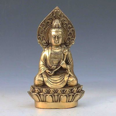 Old Chinese Antique Brass Hand-carved Guanyin statue Qing Dynasty