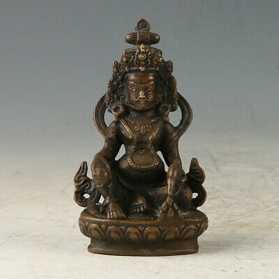 Chinese Old Copper  Hand-made Carved Yellow Jambhala Statue GL622
