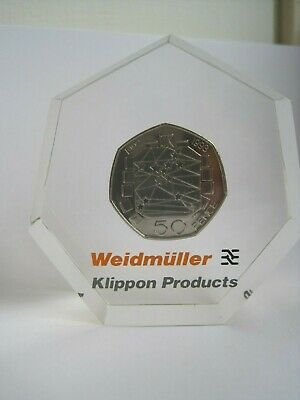 Rare 50P  Pence Coin 1992 - 1993 Eec Paperweight Advertising Weidmuller