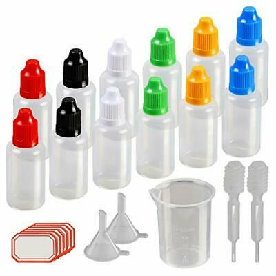 Dropper Bottles,KAKOO 12 Pc 30ml Plastic Squeezable Liquid Bottle with Childproo