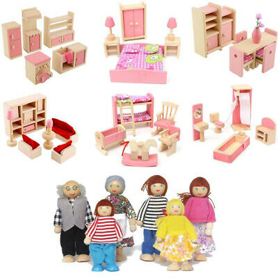 Wooden Furniture Dollhouse Miniature Family Room Sets Dolls for Children Gift AU