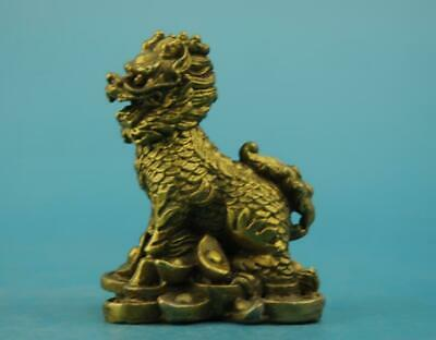 chinese old fengshui  copper hand-carved yuanbao Wealth Kirin statue a01