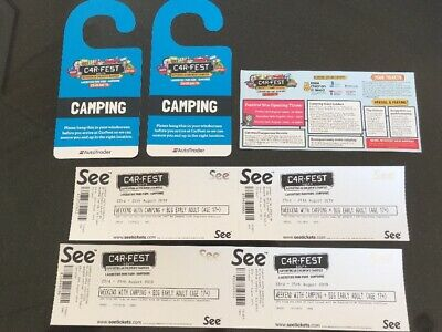 Carfest South Big Early Camping tickets x 4 Adults And Two Cars.