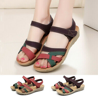 Women's Ladies Summer Fashion Leather Hook Sandals Wedges Comfort Big Size Shoes