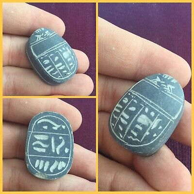 Rare ancient Egyptian stone scarab beetle with hieroglyphics  , 300 bc