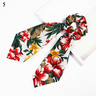 Boho Print Ponytail Scarf Bow Elastic Hair Rope Tie Scrunchies Ribbon White