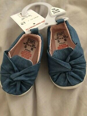 NEW WITH TAGS Baby Girl Denim Look Shoes Booties Prewalker Newborn Up To 3 Month