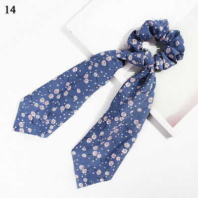 Boho Print Ponytail Scarf Bow Elastic Hair Rope Tie Scrunchies Ribbon Blue