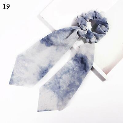 Boho Print Ponytail Scarf Bow Elastic Hair Rope Tie Scrunchies Gradient blue