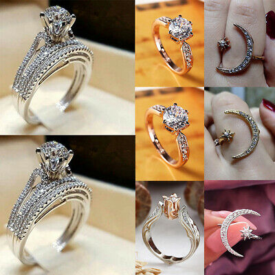 925 Sterling Silver Diamond Ring Women Jewelry Engagement Wedding Gift Size 6-10