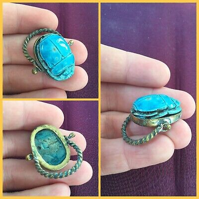 Rare ancient Egyptian scarab beetle ring , 300 bc