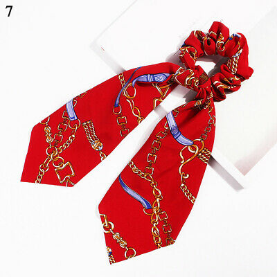 Boho Print Ponytail Scarf Bow Elastic Hair Rope Tie Scrunchies Ribbon Red chain