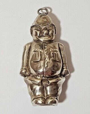 VINTAGE STERLING SILVER BABY'S RATTLE - POLICEMAN - Collins & Co 1941