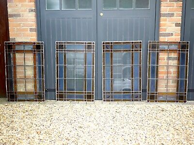 4 Vintage Stained Glass Leaded Window Panels Architectural Antique Art Deco Moon