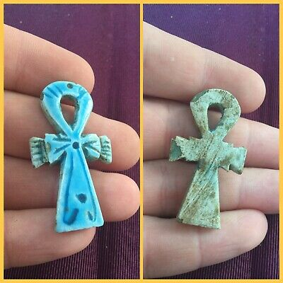 Rare ancient Egyptian blue amulet , 300 bc