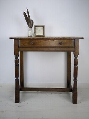 Antique Vintage Old Oak Side Hall Table Compact Drawer Desk Turned Legs Small