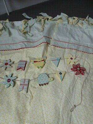 Lovely Mamas and Papas Whirligig Neutral Nursery Curtains and Wooden Tie Backs