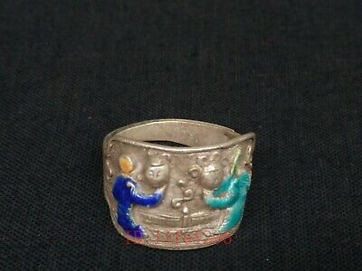 Collection Chinese Old Hand-made Silver Enamel Figure Ring Decoration Great Gift