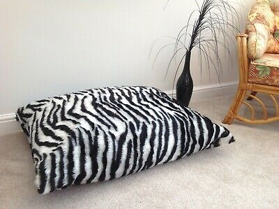 Beanbag Floor Cushion Filled B&W Zebra Faux Fur Large 3cf Size Luxurious