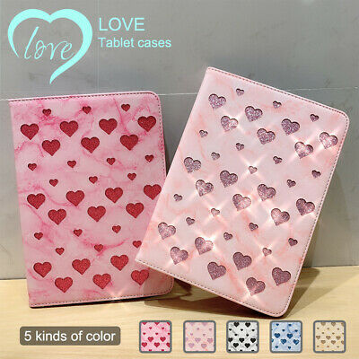 Bling Marble Heart Smart Case for iPad 9.7 2018 Mini 1 2 3 4 5 Air Stand Cover