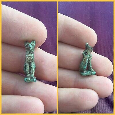 Rare ancient Egyptian blue cat amulet , 300 bc