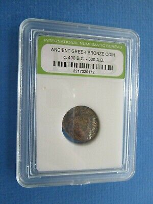 Cased Ancient Greek Bronze Coin c. 400 BC - 300 AD