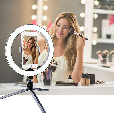 "10"" Phone Selfie Ring Light with Stand Dimmable For Makeup Video Shooting Live"