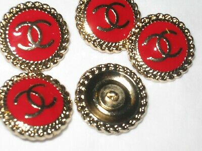 CHANEL  4 CC  LOGO RED, MATTE GOLD  18mm BUTTONS THIS IS FOR 4