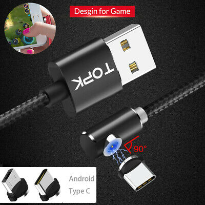TOPK Braided Magnetic Cable Type C Micro USB 2.4A Fast Charging For HuaweiP20 LG