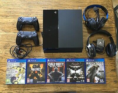 Sony Playstation 4 PS4 500GB Bundle - 5 Games + 2 Controllers + 2 Headsets