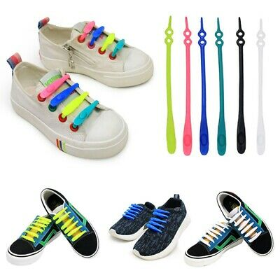 Easy No Tie Silicone Shoe Laces Colored ShoeLaces Trainers Kids  Adults Lazy