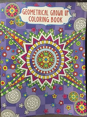 New - Adult Geometrical Colouring Book - Design 2 - 24 Pages