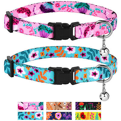 Breakaway Cat Collar with Bell Nylon Pet Safety Collars for Cats Kitten