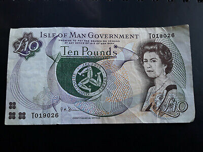 ISLE OF MAN. Paper £10 TEN POUND NOTE. IOM. Manx. Tenner. Circulated