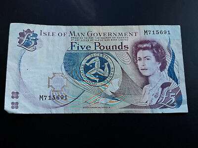 ISLE OF MAN. Paper £5 FIVE POUND NOTE. IOM. Manx. Fiver. Circulated
