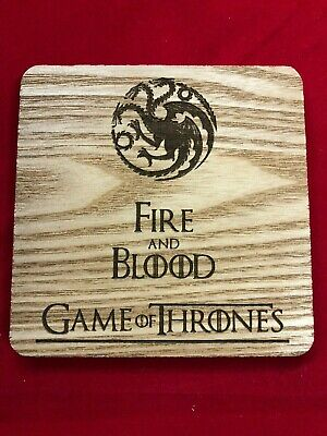 GOT Game of Thrones Engraved Fire And Blood Coaster