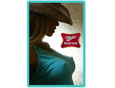Huge Miller High Life Beer Cowgirl In Blue Top Refrigerator / Tool Box Magnet