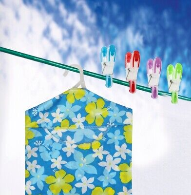 SupaHome Floral Clothes Washing Line Laundry Hanging Peg Storage Bag with Hook