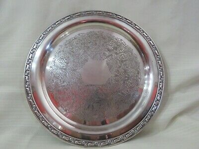 Vintage Oneida USA Silver Plated Round Serving Tray 12 1/4""