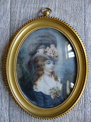 LOVELY LARGE ANTIQUE LATE 19th CENTURY ELEGANT LADY MINIATURE PORTRAIT 1880's