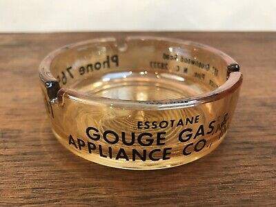 Essotane Gouge Gas Advertising Spruce Pine, NC Glass Cigarette Ashtray HD8