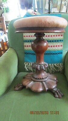 Antique Piano Stool  / Padded / Carved Feet / Hardwood / Very Unique