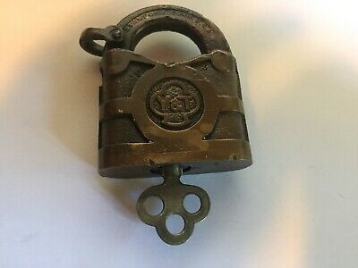 "Antique Vintage Yale & Towne Brass Padlock with one key near 2"" tall"